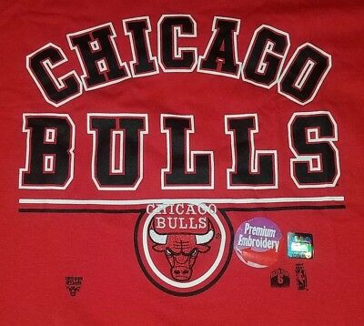 Chicago Bulls NBA Basketball Full Court Vintage Embroidered T-Shirt Adult XL Red