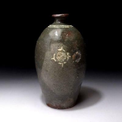 YH7: Antique Japanese Celadon Pottery Vase, Old Kyo ware, 19C
