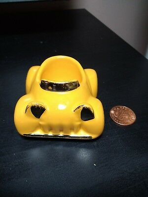 Vintage Honiton Pottery Motor Car Egg Cup - Yellow with gold lustre