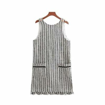 Women plaid Pattern sleeveless backless pockets tassel patchwork straight dress