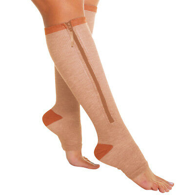 NEW Copper Zipper Socks Soothe Massage & Energize Tired Achy Feet And Calves MD