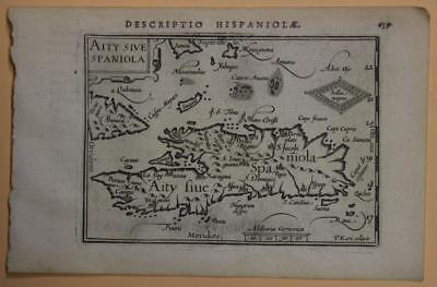 Haiti & Dominican Republic 1597 Langenes Unusual Antique Copper Engraved Map