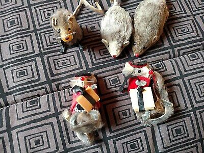 5 Vtg  MICE, 2 SCHOOL,1 HAS CHEESE, 2 NOT DRESSED W.Germany Original Fur Animals