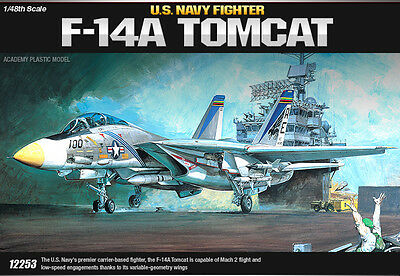 Academy Aircraft 1/48 Scale Plastic Model Kit F-14A U.S Navy Tombcat #12253