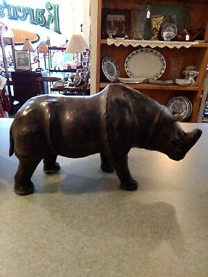 "Vintage Leather Rhino with Brown Glass Eye's Large Rhinoceros 14"" X 8"""