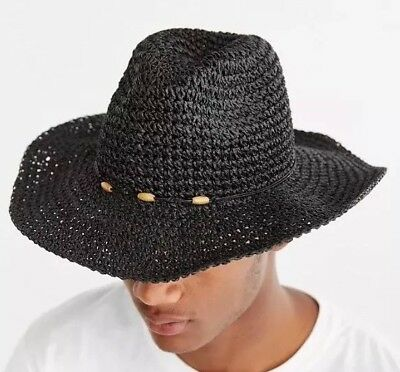 bbb23cbca8d NWT Small / Medium Urban Outfitters Black Straw Woven Sun Hat Wide Brim