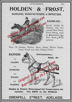 Vintage 1899 HOLDEN & FROST Saddlers PRINT ADVERTISEMENT- Reproduction 29.5x21cm