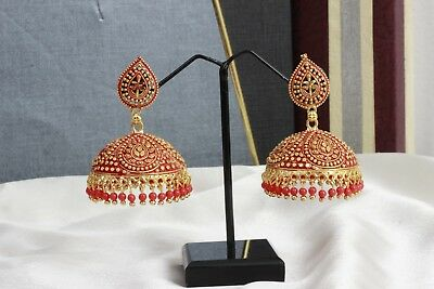 Indian Ethnic Gold Plated Bollywood Jewelry Red Pearl Jhumka