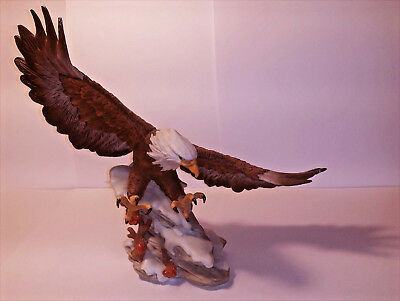 "Large Swooping Bald Eagle over Mountain Top Statue 12""Long Wildlife Figurine"
