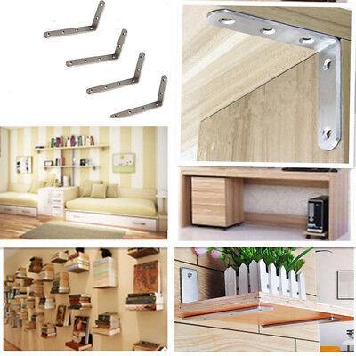 Stainless Steel Folding Shelf Bench Bracket Wall Hanging Support with Screws 2PC