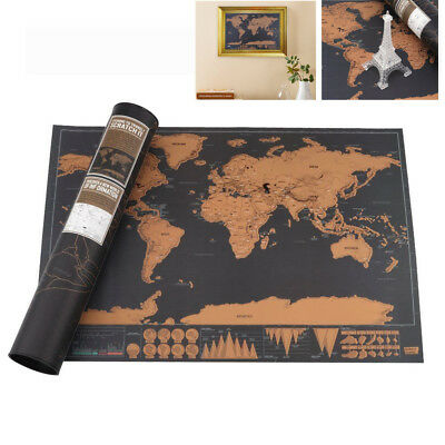 Deluxe Scratchable Travel World Map Log Large Vintage Personalized Atlas Poster