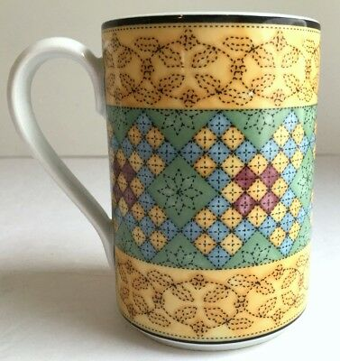 """DANSK Quiltings RICCAS Yellow MUG 9 oz 4""""H Portugal 90s Excellent Condition"""