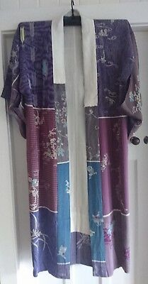 Fabulous Patchwork Purple Patterned Vintage Japanese Full Length Silk Kimono