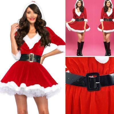 Fancy Dress Popular Ladies Santa Claus Xmas Costume Cosplay Outfit W/Waistbelt