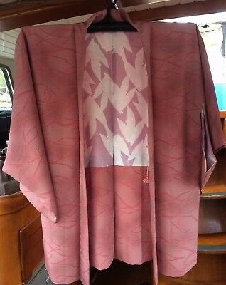 Lovely Pink Patterned Vintage Japanese Haori (Kimono Jacket) With Grey Markings
