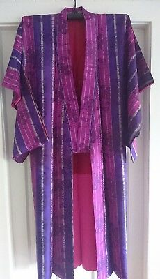 Fab Purple & Pink Patterned Vintage Japanese Full Length Silk Kimono