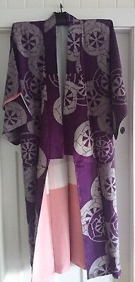 Fab Purple With Grey Patterned Vintage Japanese Full Length Kimono