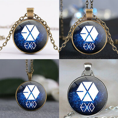 1x EXO Alloy Pendant Glass Time Gem Necklace Party Birthday Wedding Jewelry Gift