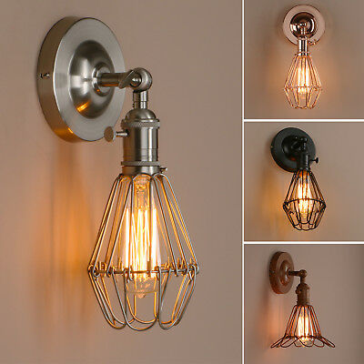 Permo Retro Antique Industrial Iron Bird Cage Wall Light Up Down Bar Sconce Lamp