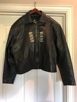 FORCE Black Leather Women's Motorcycle Jacket - Western Native American Trim