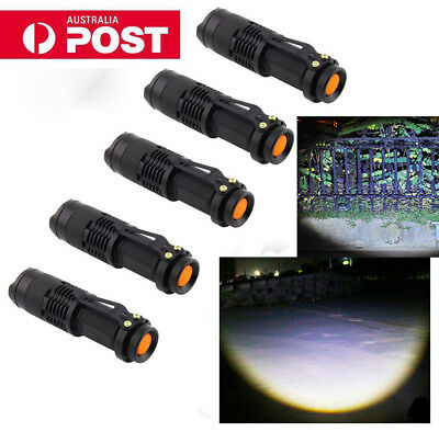 5 PCS 7W 300LM CREE Q5 LED Flashlight Zoomable Focus Bright Torch Lamp AU Post