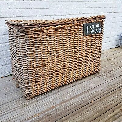 Vintage French  industrial wicker basket.