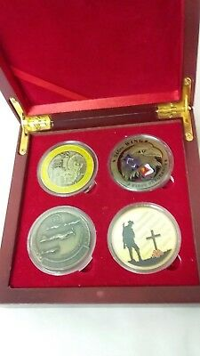 WAR COLLECTOR'S COINS X 4 IN WOODEN BOX  - GREAT GIFT for collector's
