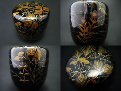 Japanese WAJIMA Lacquer Wooden Tea Caddy AUTUMNAL FLOWERS makie Natsume (1107)