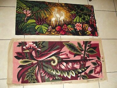 CHOICE OF ONE HUGE VINTAGE FRENCH TAPESTRY BIRDS FLAMINGOES FUNKY 60s UPCYCLE