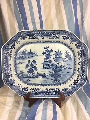 Large Antique Chinese Blue And White Meat Plate 38cm