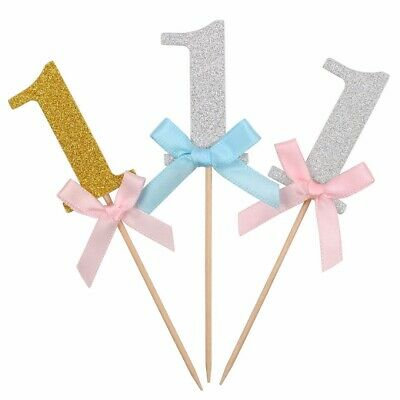 10x Baby 1st First Birthday Cake Cupcake Toppers Boy Girl Party