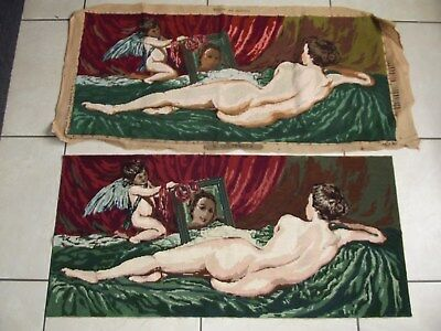 Vintage French Nude Naked Lady Woman Completed Tapestry Venus Mirror