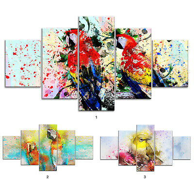 Parrot Bird Canvas Print Painting Framed Home Decor Wall Art Poster 5Pcs