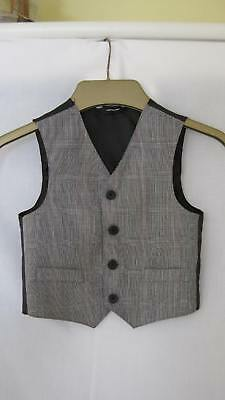 Baby / Infant Boy Grey Fine Check Waistcoat - Age 2 years approx