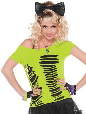 80's 1980s Neon Green Ripped T-Shirt Top Fashion Womens Fancy Dress Ladies Rave