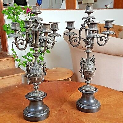 Antique French Spelter  & Marble Candelabras Pair (Damaged)