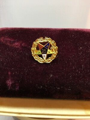 Vintage Masonic Eastern Star 25 Year Pin Brooch Gold Tone