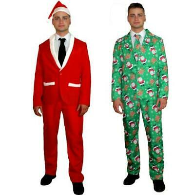 Mens Christmas Suit Santa Reindeer Funny Patterned Fancy Dress Costume 3 Piece H