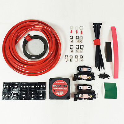 3 mtr Split Charge Kit 12V 140Amp Voltage Sense Relay 110amp cable T4 T5
