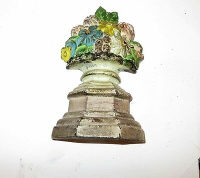 "ANTIQUE FLOWER GARDEN BASKET CAST IRON DOORSTOP - 4"" - Hubley?"