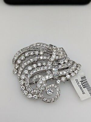 Vintage Estate Brooch Pin w/ 8.05 cttw Diamonds in 14 k White Gold