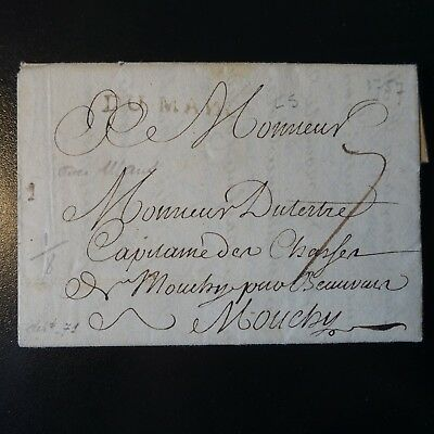 1757 Letter Cover Brand Postal Le Mans -> Mouchy / Index 8