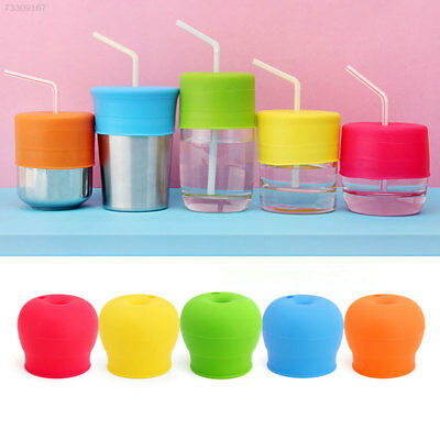 3D0F Cup Water Bottle Straw Lid Silicone Anti-spilled Anti-choke Drinking Leanin