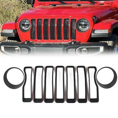 Front Grille Inserts Covers & Headlight Cover For 2018 Jeep wrangler JL Black