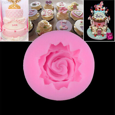 DE07 3D Rose Flower Fondant Cake Mold Chocolate Silicone Soap Candles Decorating