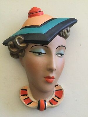 DECO STYLE WALL LADY FACE  PLAQUE ..CHALKWARE Exotic hat