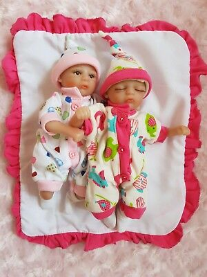 "8"" Mini Reborn Baby Doll Girl Twins Palm Size Pocket Newborn Dolls And Carrycot"