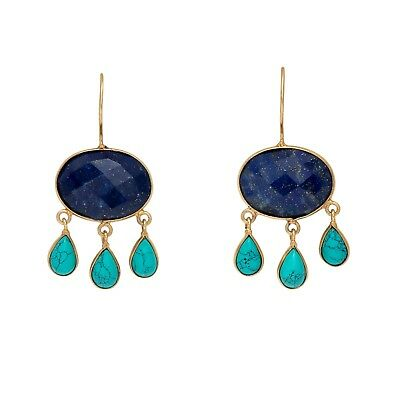 Brand New Vintage Look Handmade Lapis Lazuli & Turquoise 18kGold Plated Earrings