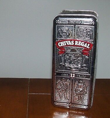 Vintage Chivas Regal Whiskey Embossed Hinged Ornate Silver Metal  Whiskey Tin