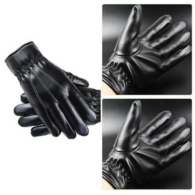Fashion Men Winter Leather Motorcycle Full Finger Touch Screen Warm Gloves Black